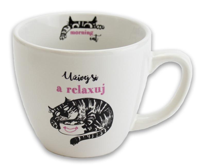 Hrnek Kočka s miskou - Hrnky Morning Cat