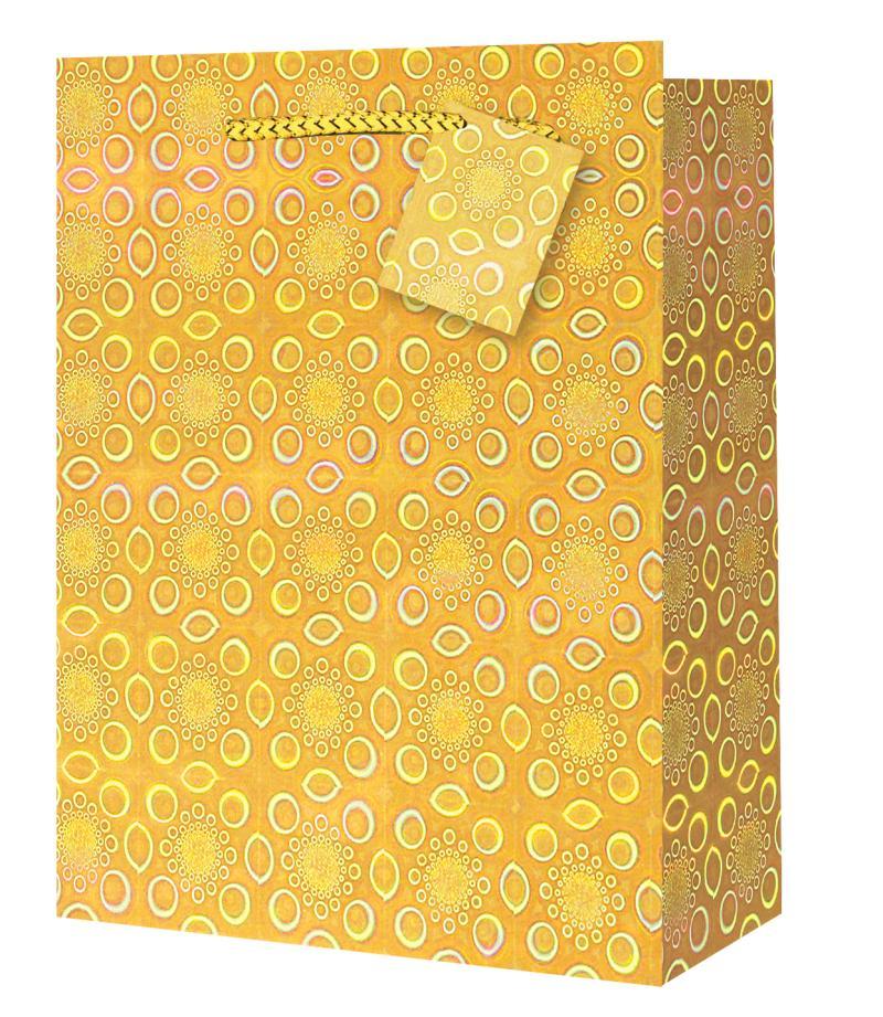 Taška medium Holografická žlutá - Dárkové tašky