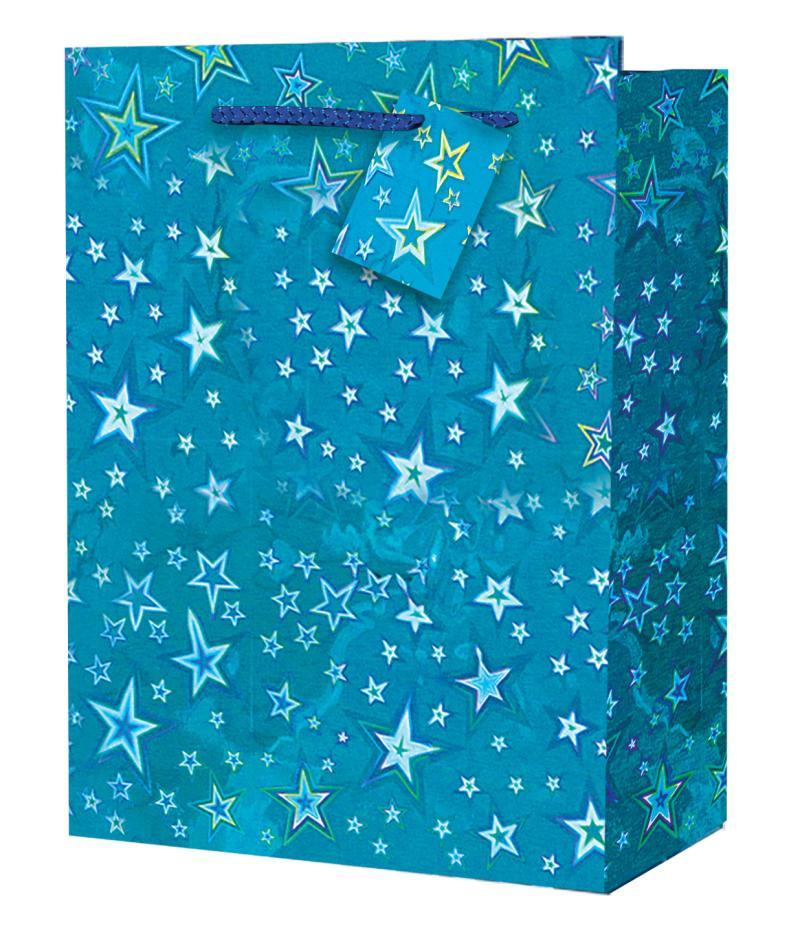 Taška large Holografická modrá - Dárkové tašky