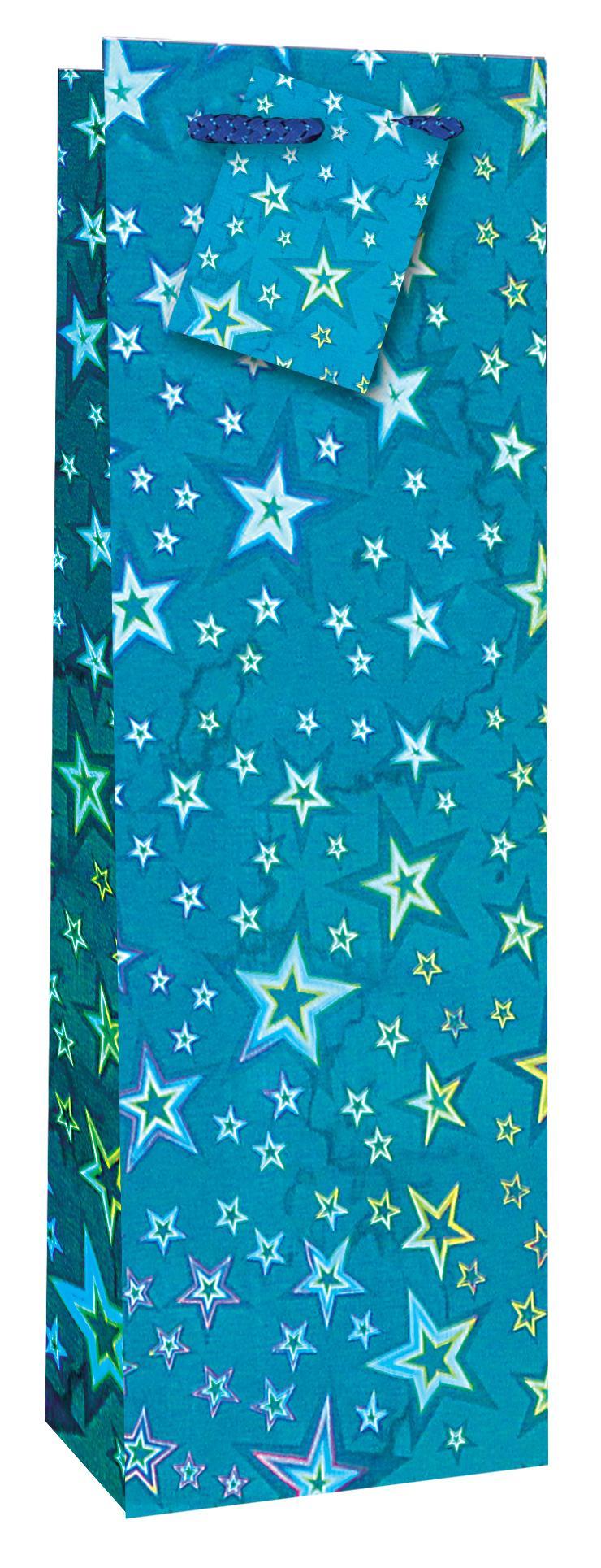 Taška lahev Holografická modrá - Dárkové tašky