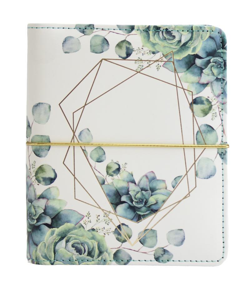 Diář UNI Sukulenty a eukalypt kroužkový S s vyměnitelným kalendáriem 2022 - Designové diáře 2022