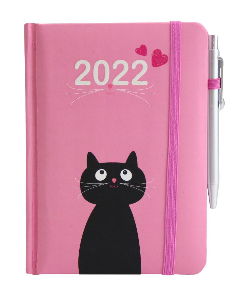Diář 2022: Kočka se srdíčky/ SMART - Designové diáře 2022