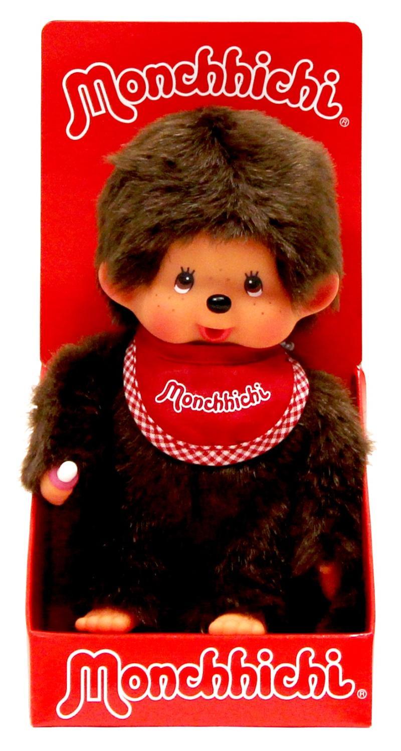 Monchhichi 20cm - kluk červený bryndáček(Mončiči)