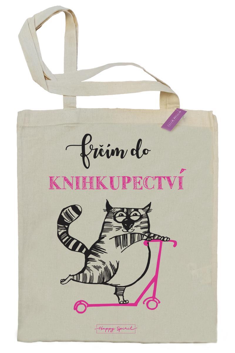 Plátěná taška Kočka – Frčím do knihkupectví - Plátěné tašky