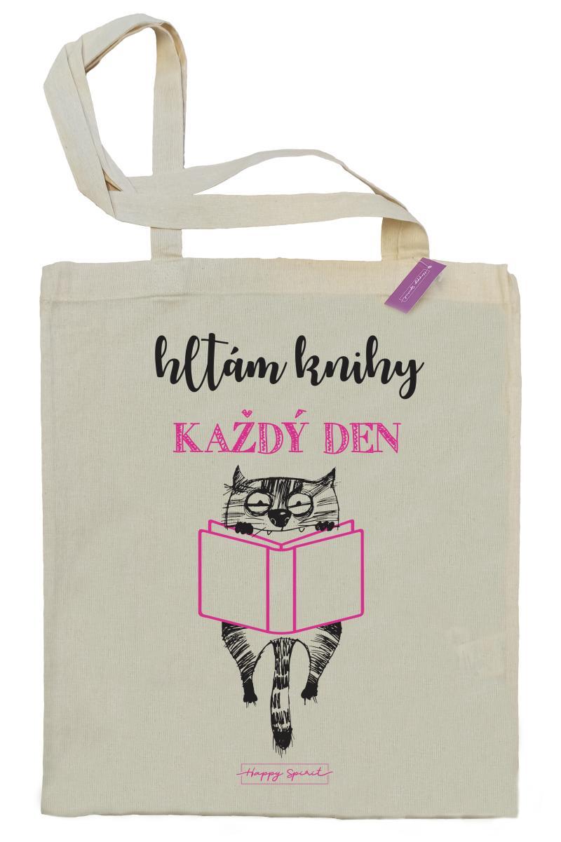 Plátěná taška Kočka - Hltám knihy - Plátěné tašky