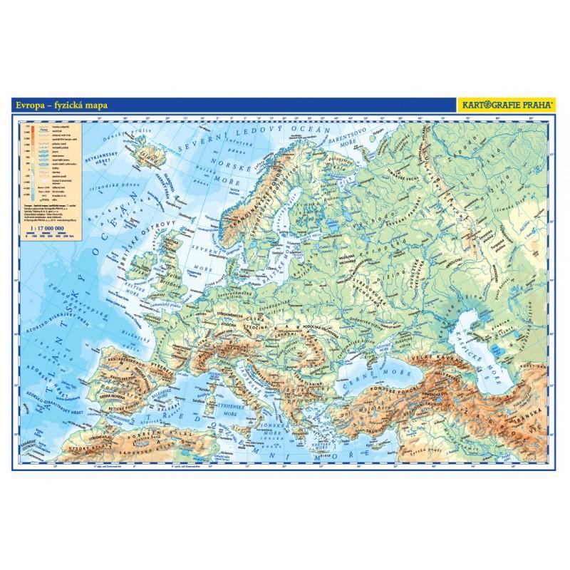 EVROPA FYZICKÁ / POLITICKÁ MAPA 1:17 MIL