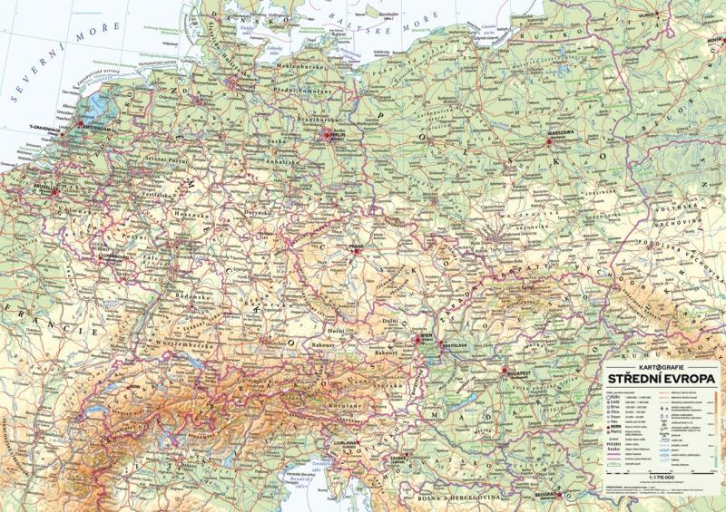STŘEDNÍ EVROPA 1:1 715 000 NÁSTĚNNÁ MAPA